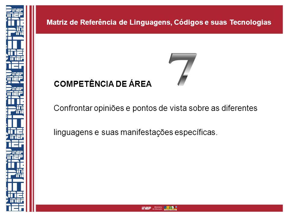 COMPETÊNCIA DE ÁREA Confrontar opiniões e pontos de vista sobre as diferentes linguagens e suas manifestações específicas. Matriz de Referência de Lin