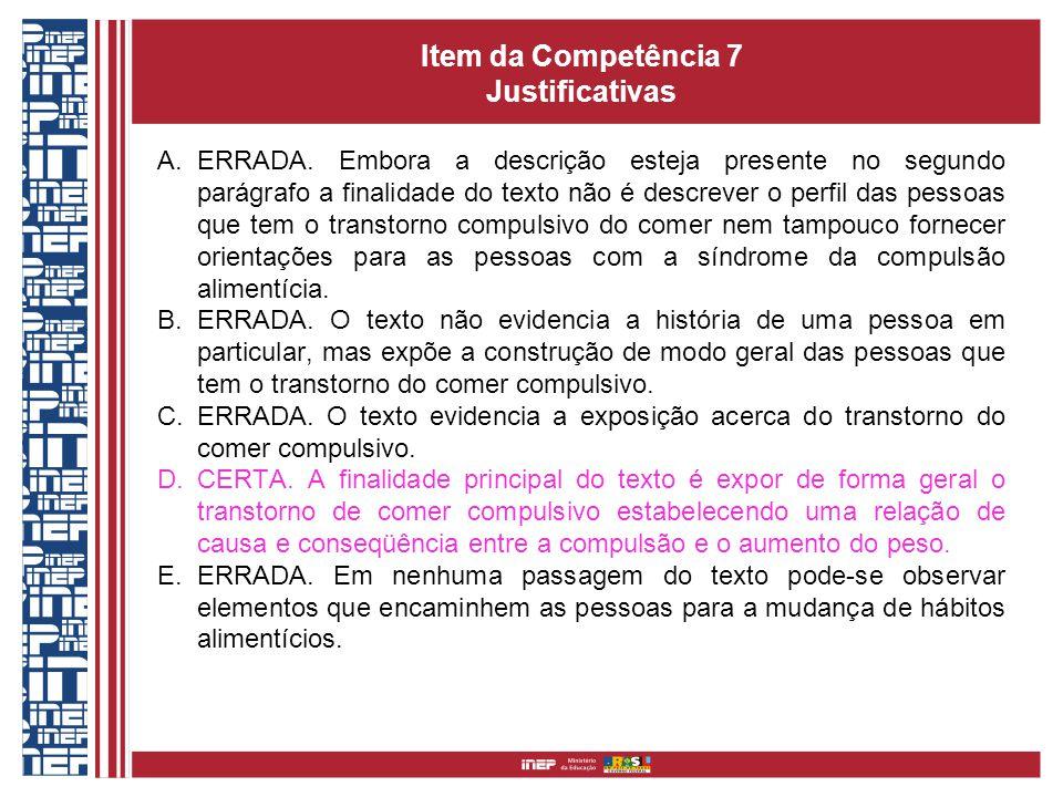 Item da Competência 7 Justificativas A.ERRADA. Embora a descrição esteja presente no segundo parágrafo a finalidade do texto não é descrever o perfil