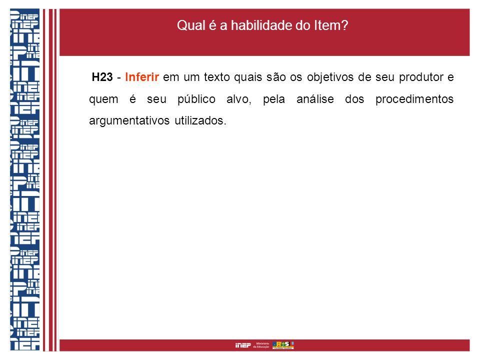 Qual é a habilidade do Item? H23 - Inferir em um texto quais são os objetivos de seu produtor e quem é seu público alvo, pela análise dos procedimento