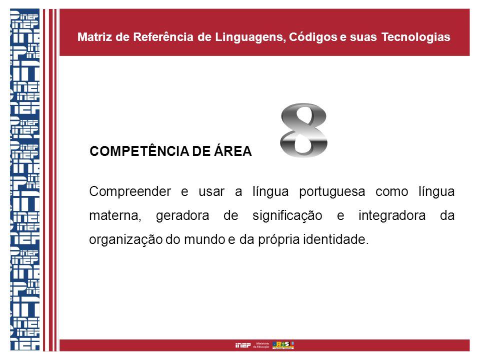 COMPETÊNCIA DE ÁREA Compreender e usar a língua portuguesa como língua materna, geradora de significação e integradora da organização do mundo e da pr