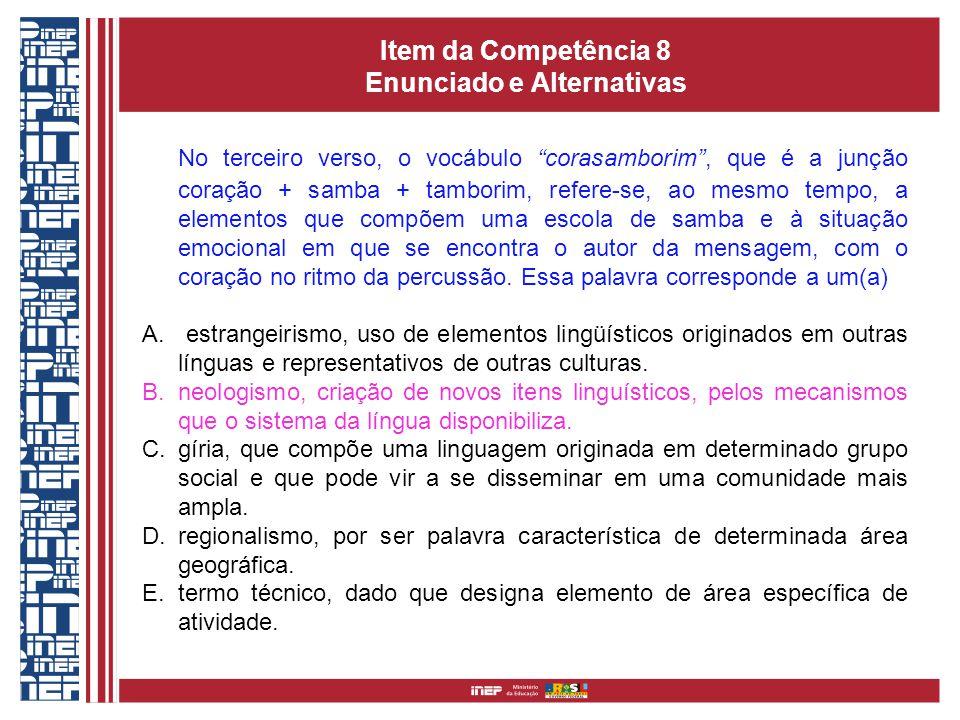 Item da Competência 8 Enunciado e Alternativas No terceiro verso, o vocábulo corasamborim, que é a junção coração + samba + tamborim, refere-se, ao me