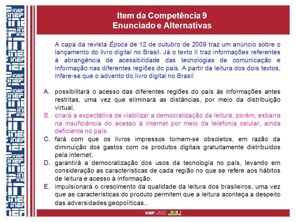Item da Competência 9 Enunciado e Alternativas A capa da revista Época de 12 de outubro de 2009 traz um anúncio sobre o lançamento do livro digital no Brasil.