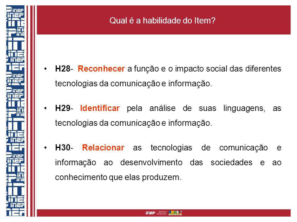 Qual é a habilidade do Item? H28- Reconhecer a função e o impacto social das diferentes tecnologias da comunicação e informação. H29- Identificar pela