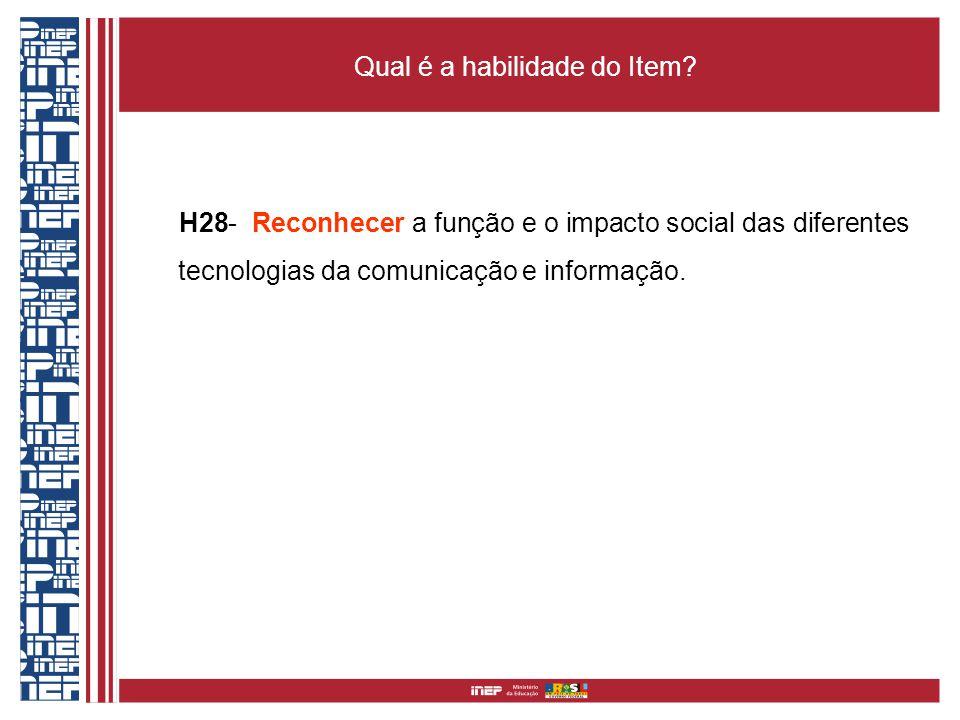 Qual é a habilidade do Item? H28- Reconhecer a função e o impacto social das diferentes tecnologias da comunicação e informação.