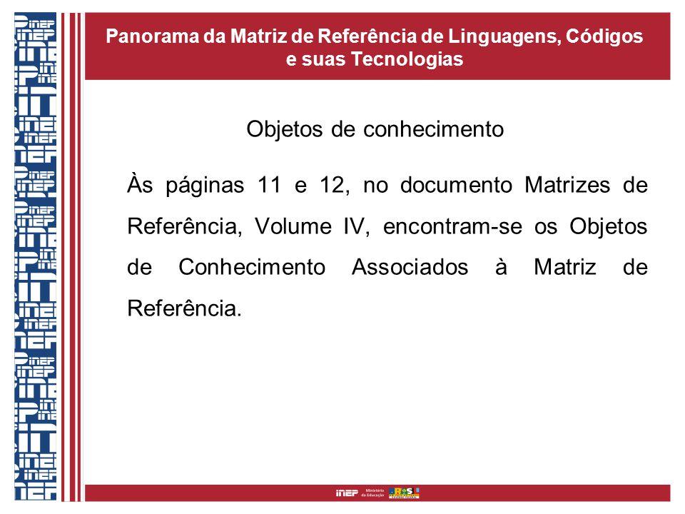 Panorama da Matriz de Referência de Linguagens, Códigos e suas Tecnologias Às páginas 11 e 12, no documento Matrizes de Referência, Volume IV, encontram-se os Objetos de Conhecimento Associados à Matriz de Referência.