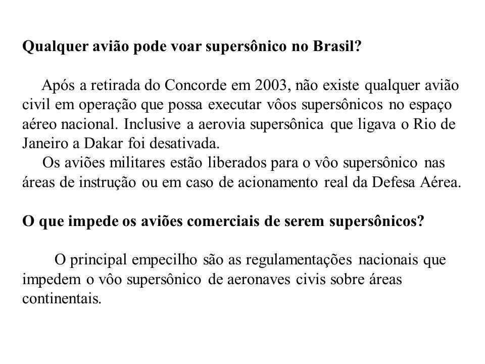Qualquer avião pode voar supersônico no Brasil? Após a retirada do Concorde em 2003, não existe qualquer avião civil em operação que possa executar vô