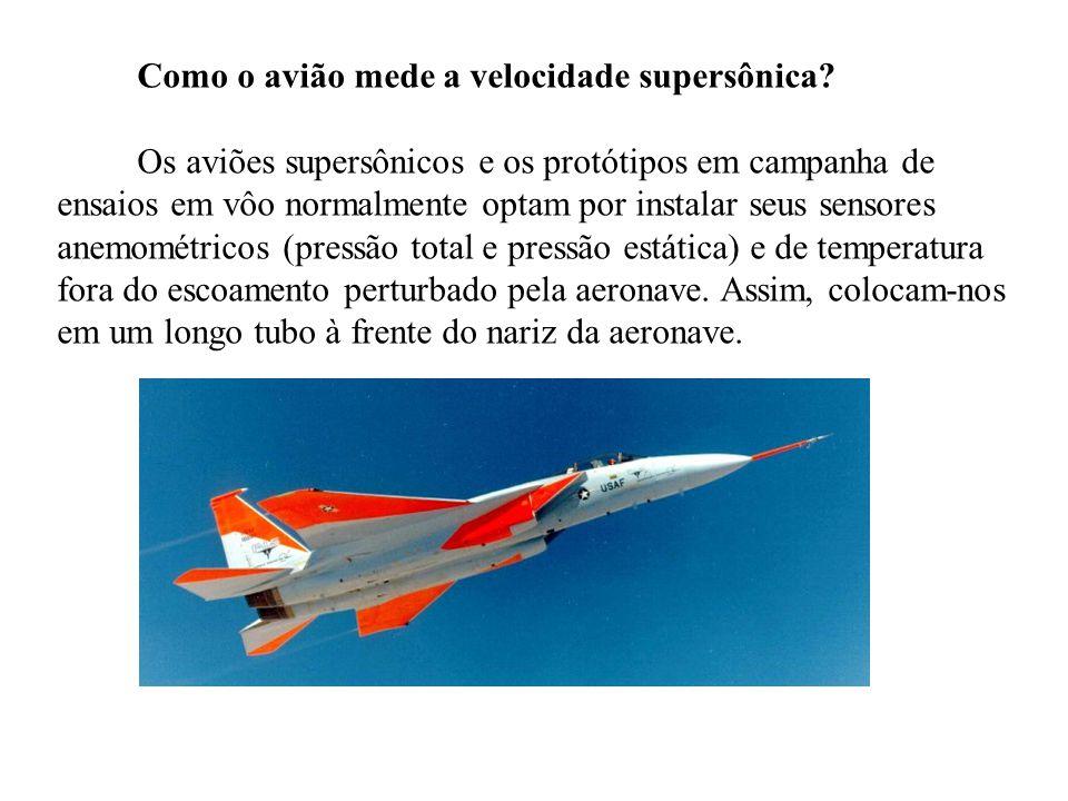 Como o avião mede a velocidade supersônica? Os aviões supersônicos e os protótipos em campanha de ensaios em vôo normalmente optam por instalar seus s
