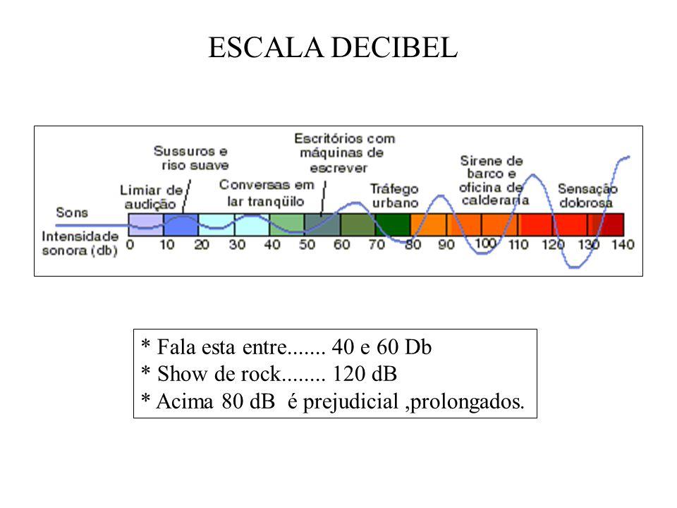 ESCALA DECIBEL * Fala esta entre....... 40 e 60 Db * Show de rock........ 120 dB * Acima 80 dB é prejudicial,prolongados.