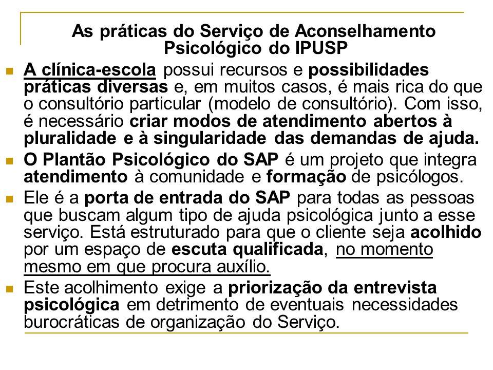 As práticas do Serviço de Aconselhamento Psicológico do IPUSP A clínica-escola possui recursos e possibilidades práticas diversas e, em muitos casos,
