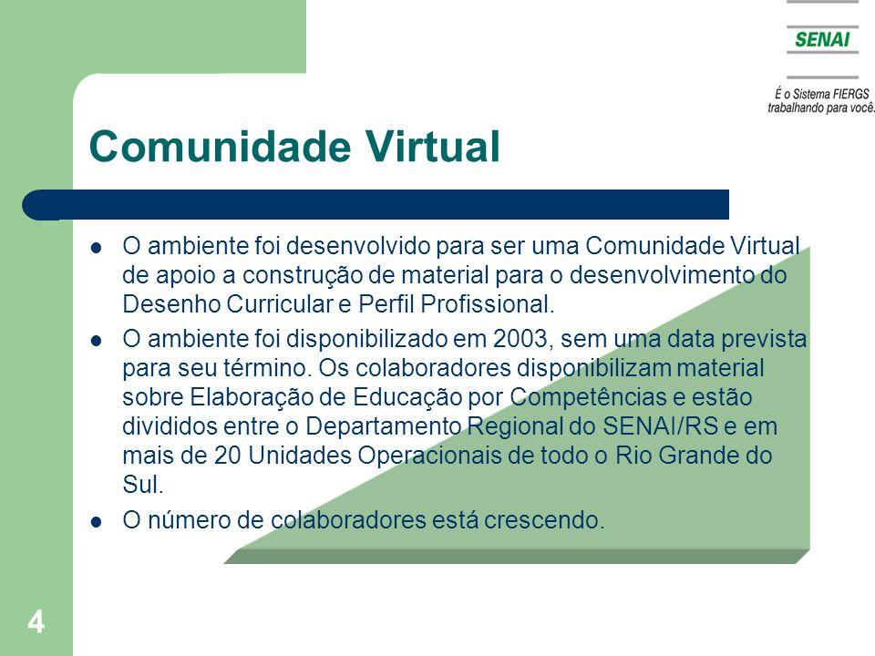 4 Comunidade Virtual O ambiente foi desenvolvido para ser uma Comunidade Virtual de apoio a construção de material para o desenvolvimento do Desenho Curricular e Perfil Profissional.