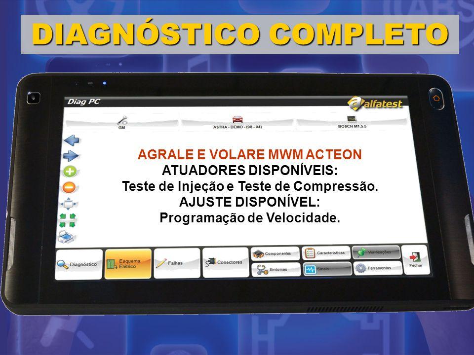 DIAGNÓSTICO COMPLETO AGRALE E VOLARE MWM ACTEON ATUADORES DISPONÍVEIS: Teste de Injeção e Teste de Compressão. AJUSTE DISPONÍVEL: Programação de Veloc