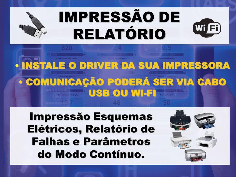 IMPRESSÃO DE RELATÓRIO INSTALE O DRIVER DA SUA IMPRESSORA INSTALE O DRIVER DA SUA IMPRESSORA COMUNICAÇÃO PODERÁ SER VIA CABO USB OU WI-FI COMUNICAÇÃO