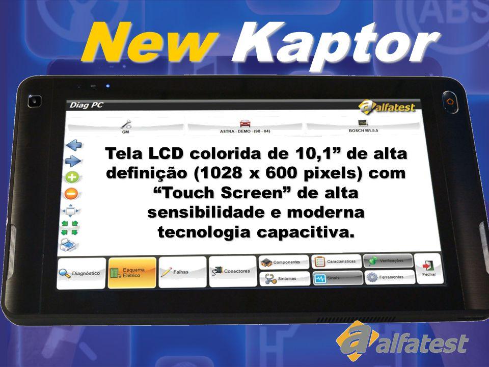 Tela LCD colorida de 10,1 de alta definição (1028 x 600 pixels) com Touch Screen de alta sensibilidade e moderna tecnologia capacitiva. New Kaptor