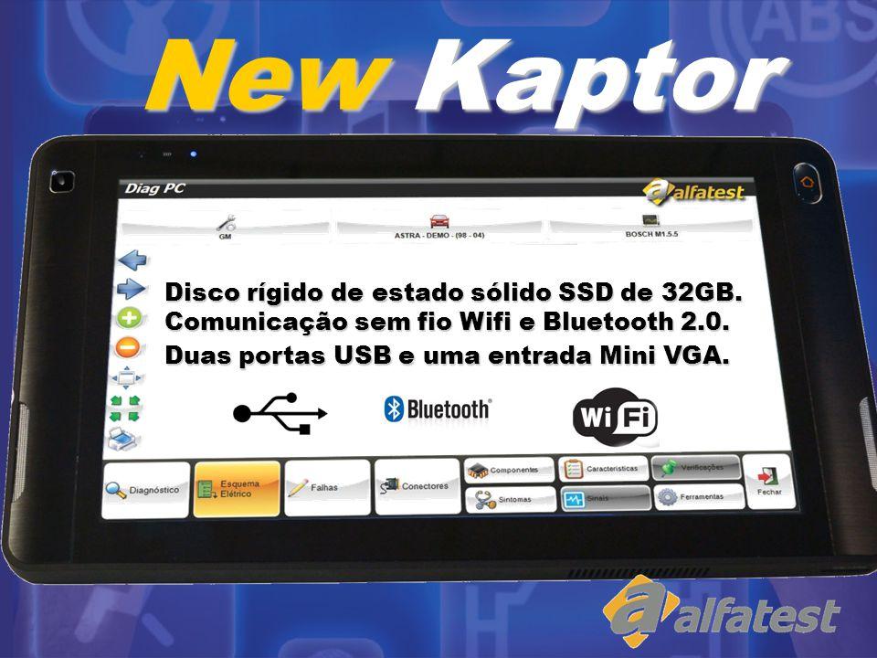 Disco rígido de estado sólido SSD de 32GB. Comunicação sem fio Wifi e Bluetooth 2.0. Duas portas USB e uma entrada Mini VGA. New Kaptor