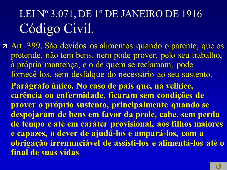 LEI Nº 3.071, DE 1º DE JANEIRO DE 1916 Código Civil. ä Art. 399. São devidos os alimentos quando o parente, que os pretende, não tem bens, nem pode pr