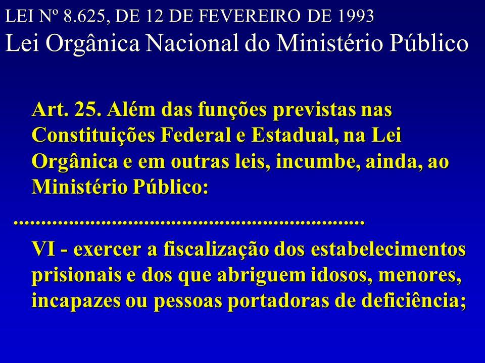 LEI Nº 8.625, DE 12 DE FEVEREIRO DE 1993 Lei Orgânica Nacional do Ministério Público Art. 25. Além das funções previstas nas Constituições Federal e E