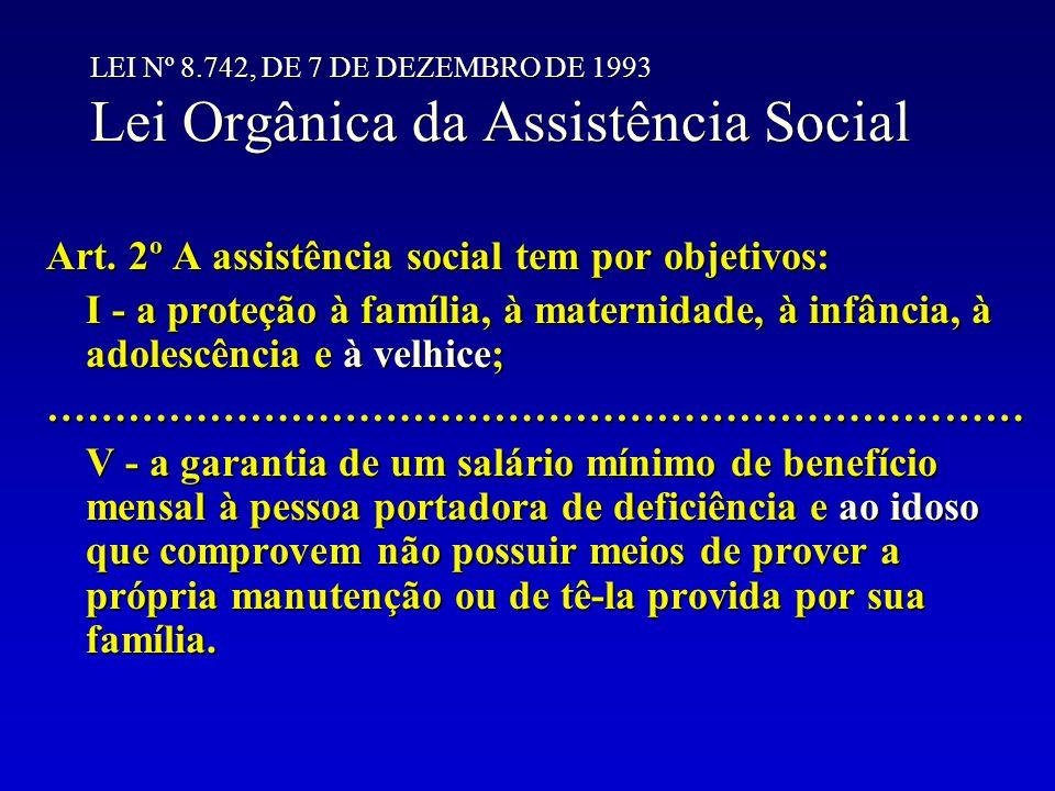 LEI Nº 8.742, DE 7 DE DEZEMBRO DE 1993 Lei Orgânica da Assistência Social Art. 2º A assistência social tem por objetivos: I - a proteção à família, à