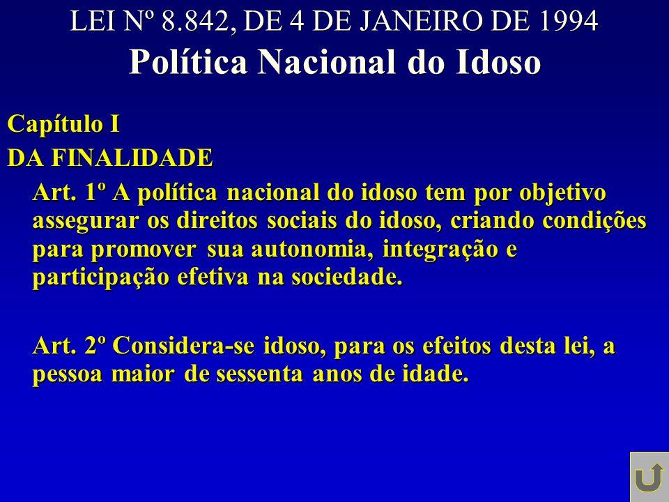 LEI Nº 8.842, DE 4 DE JANEIRO DE 1994 Política Nacional do Idoso Capítulo I DA FINALIDADE Art. 1º A política nacional do idoso tem por objetivo assegu