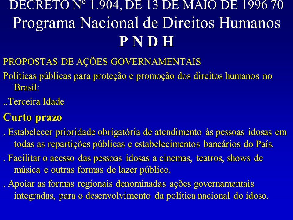 DECRETO Nº 1.904, DE 13 DE MAIO DE 1996 70 Programa Nacional de Direitos Humanos P N D H PROPOSTAS DE AÇÕES GOVERNAMENTAIS Políticas públicas para pro
