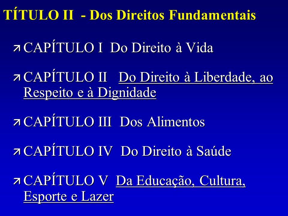 TÍTULO II - Dos Direitos Fundamentais ä CAPÍTULO I Do Direito à Vida ä CAPÍTULO II Do Direito à Liberdade, ao Respeito e à Dignidade Do Direito à Libe