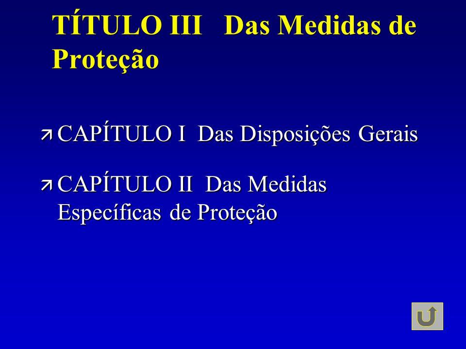 TÍTULO III Das Medidas de Proteção ä CAPÍTULO I Das Disposições Gerais ä CAPÍTULO II Das Medidas Específicas de Proteção