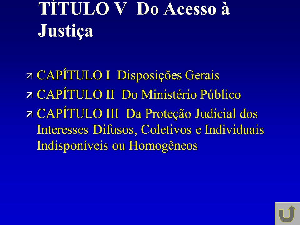 TÍTULO V Do Acesso à Justiça ä CAPÍTULO I Disposições Gerais ä CAPÍTULO II Do Ministério Público ä CAPÍTULO III Da Proteção Judicial dos Interesses Di