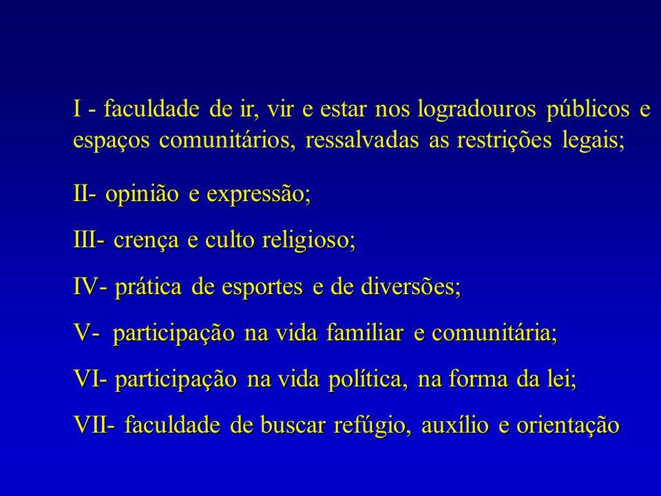 II- opinião e expressão; III- crença e culto religioso; IV- prática de esportes e de diversões; V- participação na vida familiar e comunitária; VI- pa