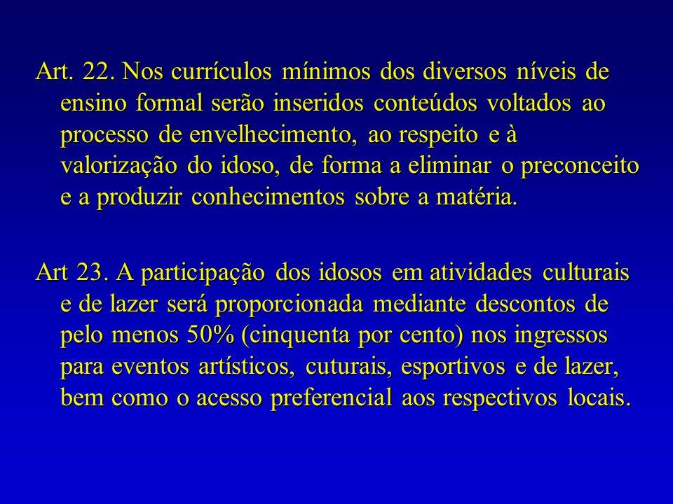 Art. 22. Nos currículos mínimos dos diversos níveis de ensino formal serão inseridos conteúdos voltados ao processo de envelhecimento, ao respeito e à