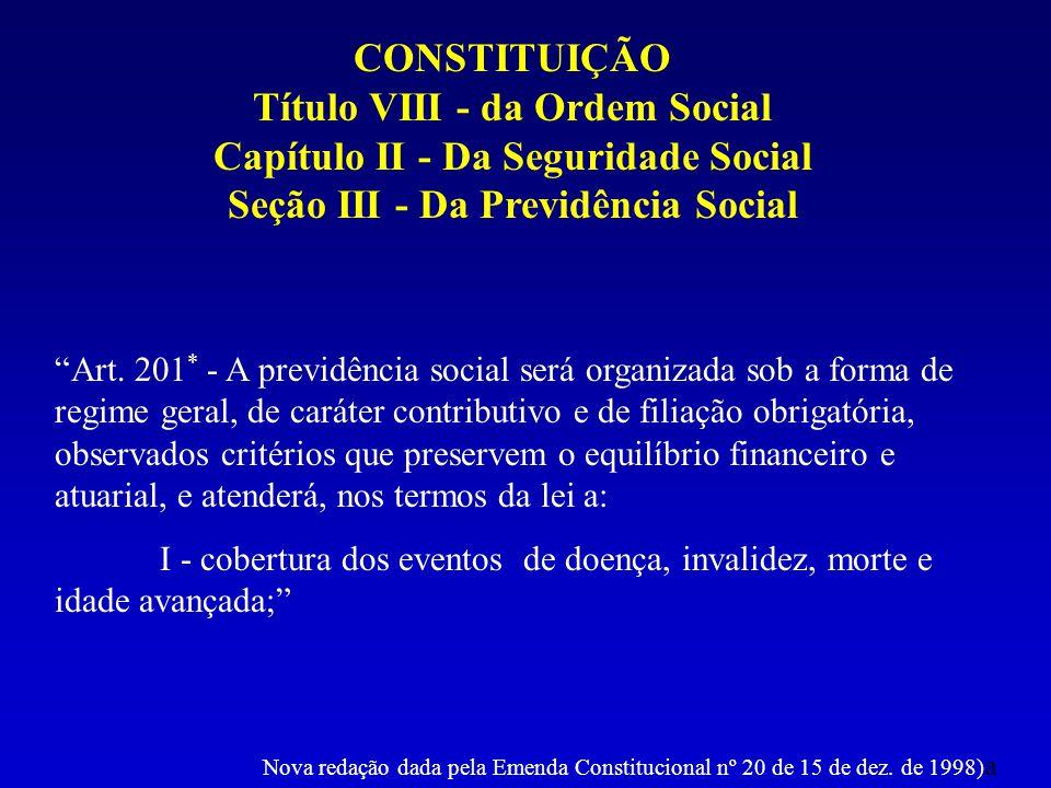 CONSTITUIÇÃO Título VIII - da Ordem Social Capítulo II - Da Seguridade Social Seção III - Da Previdência Social Art. 201 * - A previdência social será