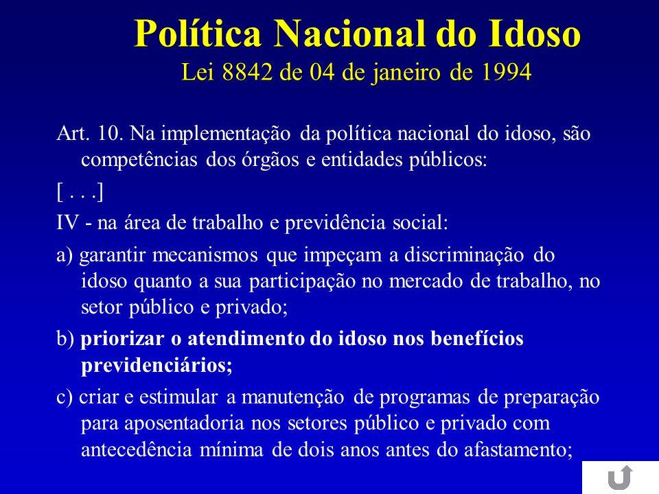 Política Nacional do Idoso Lei 8842 de 04 de janeiro de 1994 Art. 10. Na implementação da política nacional do idoso, são competências dos órgãos e en