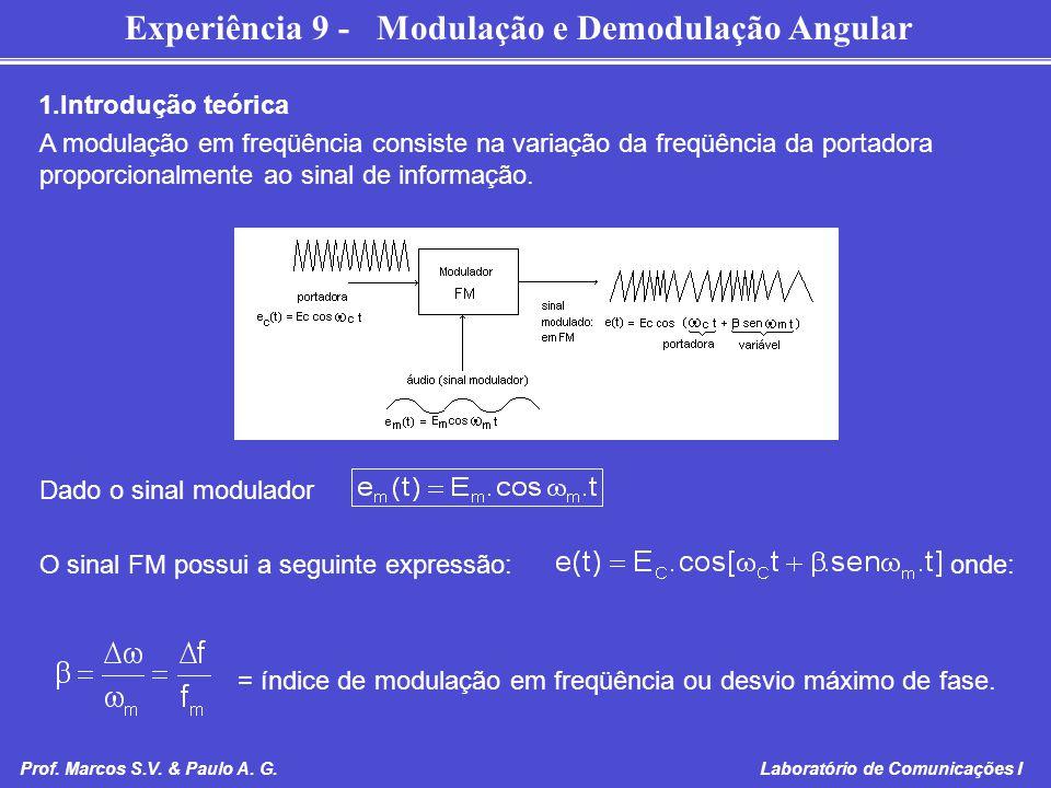 Experiência 9 - Modulação e Demodulação Angular Prof. Marcos S.V. & Paulo A. G. Laboratório de Comunicações I 1.Introdução teórica A modulação em freq