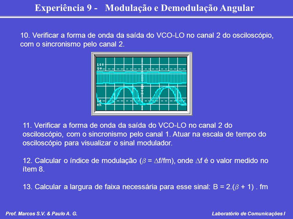 Experiência 9 - Modulação e Demodulação Angular Prof. Marcos S.V. & Paulo A. G. Laboratório de Comunicações I 10. Verificar a forma de onda da saída d