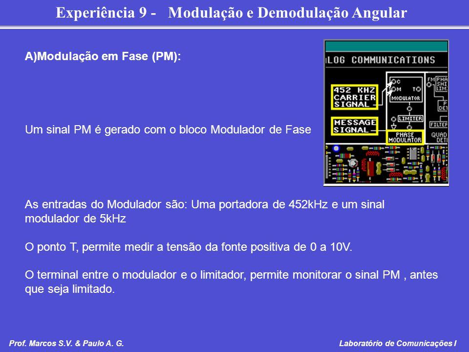 Experiência 9 - Modulação e Demodulação Angular Prof. Marcos S.V. & Paulo A. G. Laboratório de Comunicações I A)Modulação em Fase (PM): Um sinal PM é