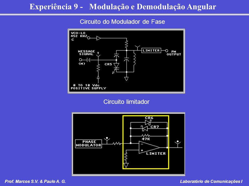 Experiência 9 - Modulação e Demodulação Angular Prof. Marcos S.V. & Paulo A. G. Laboratório de Comunicações I Circuito do Modulador de Fase Circuito l