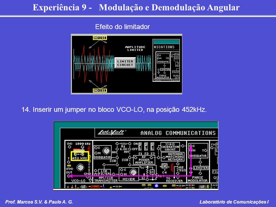 Experiência 9 - Modulação e Demodulação Angular Prof. Marcos S.V. & Paulo A. G. Laboratório de Comunicações I Efeito do limitador 14. Inserir um jumpe