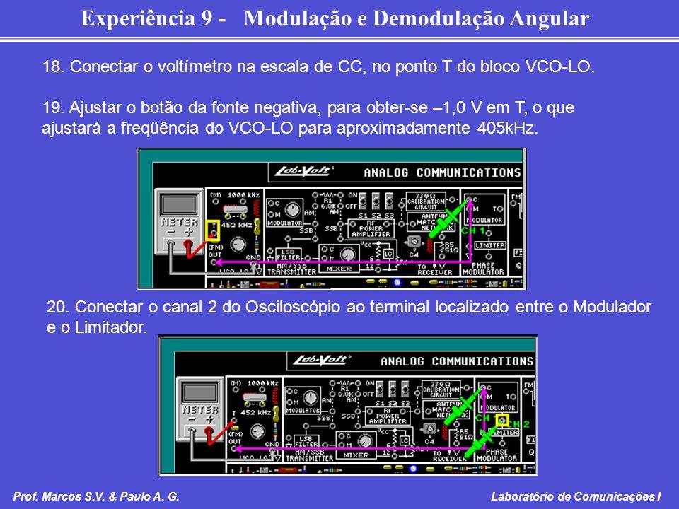 Experiência 9 - Modulação e Demodulação Angular Prof. Marcos S.V. & Paulo A. G. Laboratório de Comunicações I 18. Conectar o voltímetro na escala de C