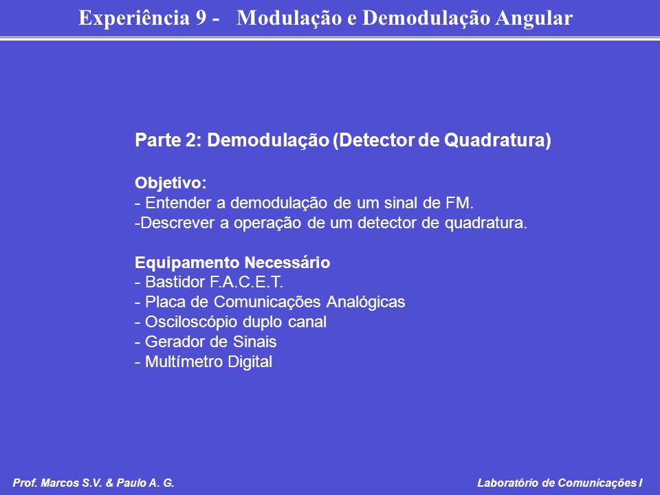 Experiência 9 - Modulação e Demodulação Angular Prof. Marcos S.V. & Paulo A. G. Laboratório de Comunicações I Parte 2: Demodulação (Detector de Quadra