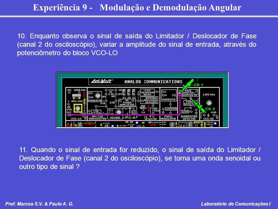 Experiência 9 - Modulação e Demodulação Angular Prof. Marcos S.V. & Paulo A. G. Laboratório de Comunicações I 10. Enquanto observa o sinal de saída do