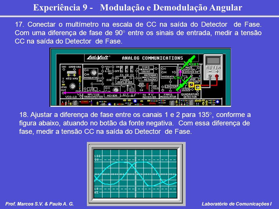 Experiência 9 - Modulação e Demodulação Angular Prof. Marcos S.V. & Paulo A. G. Laboratório de Comunicações I 17. Conectar o multímetro na escala de C