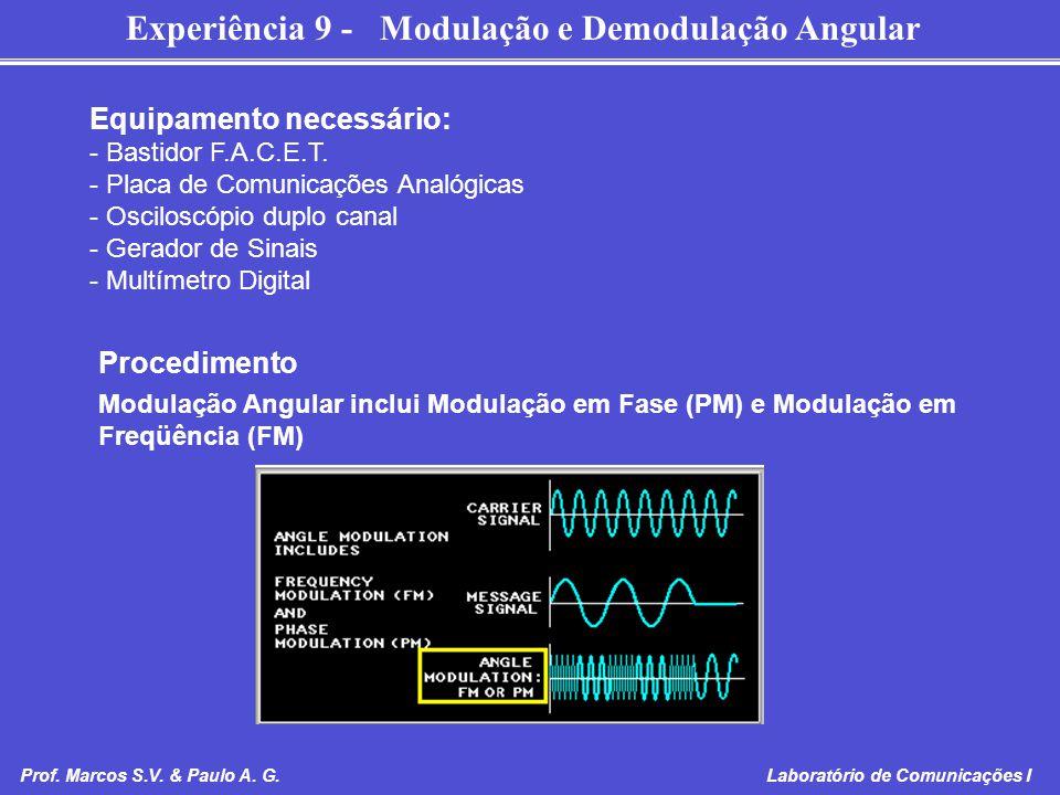 Experiência 9 - Modulação e Demodulação Angular Prof. Marcos S.V. & Paulo A. G. Laboratório de Comunicações I Equipamento necessário: - Bastidor F.A.C