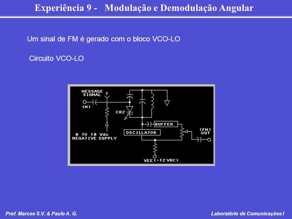 Experiência 9 - Modulação e Demodulação Angular Prof. Marcos S.V. & Paulo A. G. Laboratório de Comunicações I Um sinal de FM é gerado com o bloco VCO-