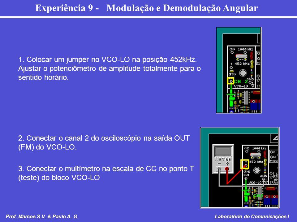 Experiência 9 - Modulação e Demodulação Angular Prof. Marcos S.V. & Paulo A. G. Laboratório de Comunicações I 1. Colocar um jumper no VCO-LO na posiçã