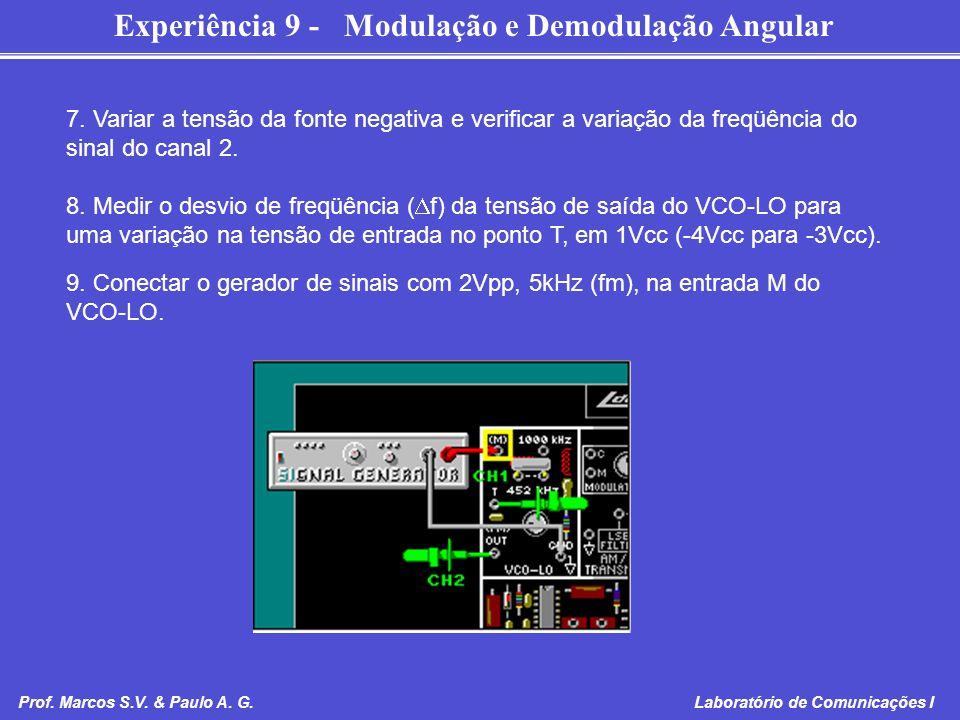 Experiência 9 - Modulação e Demodulação Angular Prof. Marcos S.V. & Paulo A. G. Laboratório de Comunicações I 7. Variar a tensão da fonte negativa e v