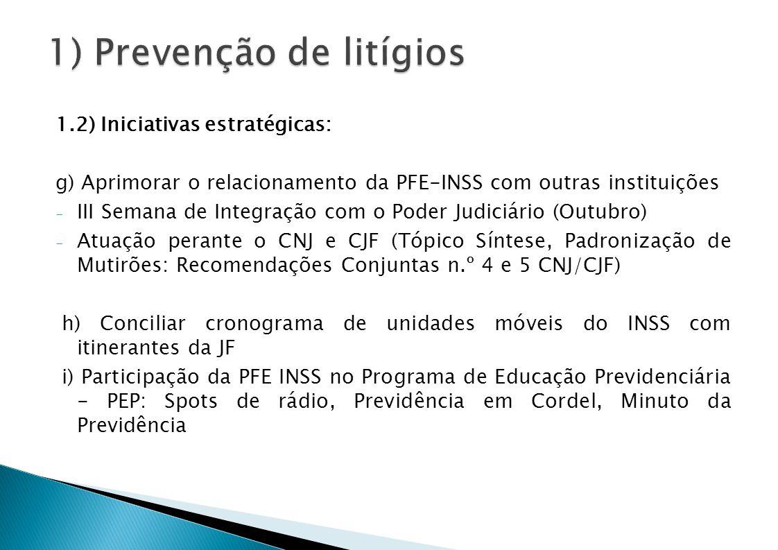 1.2) Iniciativas estratégicas: g) Aprimorar o relacionamento da PFE-INSS com outras instituições - III Semana de Integração com o Poder Judiciário (Outubro) - Atuação perante o CNJ e CJF (Tópico Síntese, Padronização de Mutirões: Recomendações Conjuntas n.º 4 e 5 CNJ/CJF) h) Conciliar cronograma de unidades móveis do INSS com itinerantes da JF i) Participação da PFE INSS no Programa de Educação Previdenciária - PEP: Spots de rádio, Previdência em Cordel, Minuto da Previdência