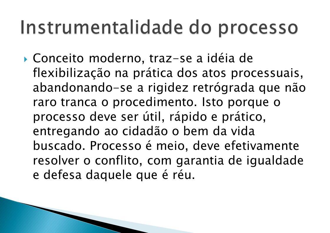 Conceito moderno, traz-se a idéia de flexibilização na prática dos atos processuais, abandonando-se a rigidez retrógrada que não raro tranca o procedimento.