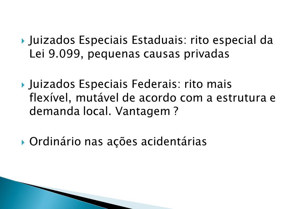 Juizados Especiais Estaduais: rito especial da Lei 9.099, pequenas causas privadas Juizados Especiais Federais: rito mais flexível, mutável de acordo com a estrutura e demanda local.