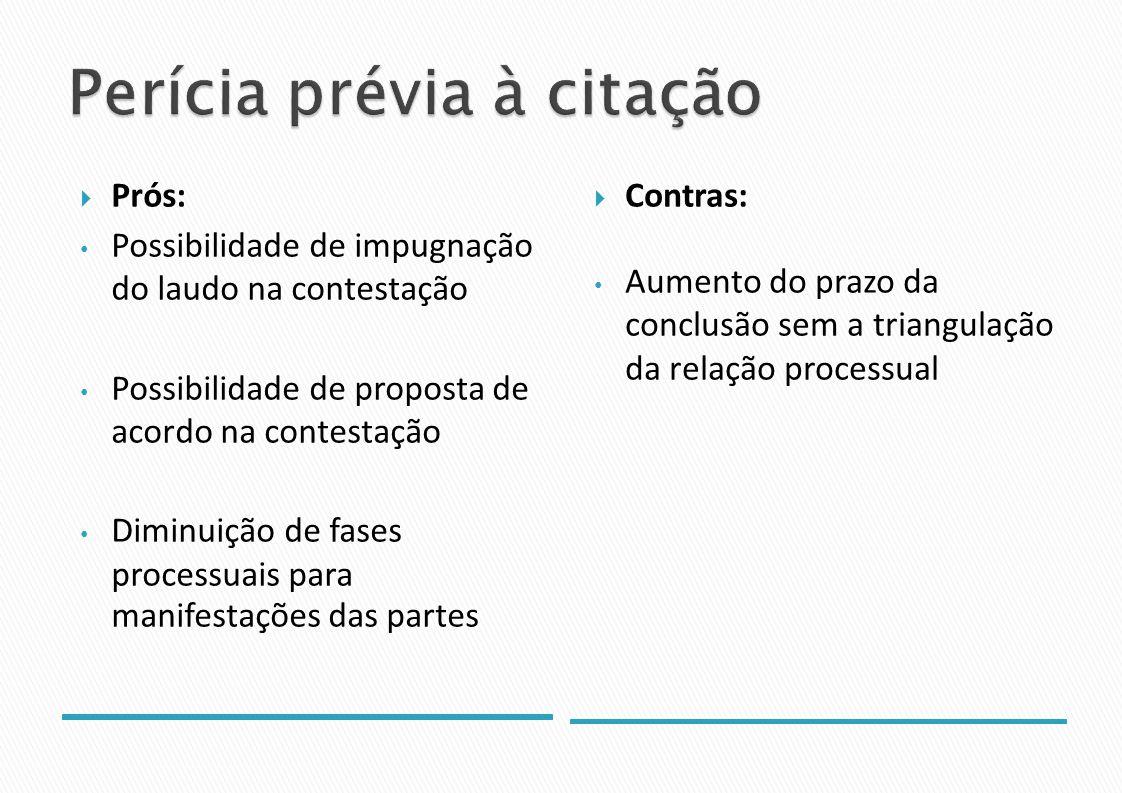 Prós: Possibilidade de impugnação do laudo na contestação Possibilidade de proposta de acordo na contestação Diminuição de fases processuais para manifestações das partes Contras: Aumento do prazo da conclusão sem a triangulação da relação processual