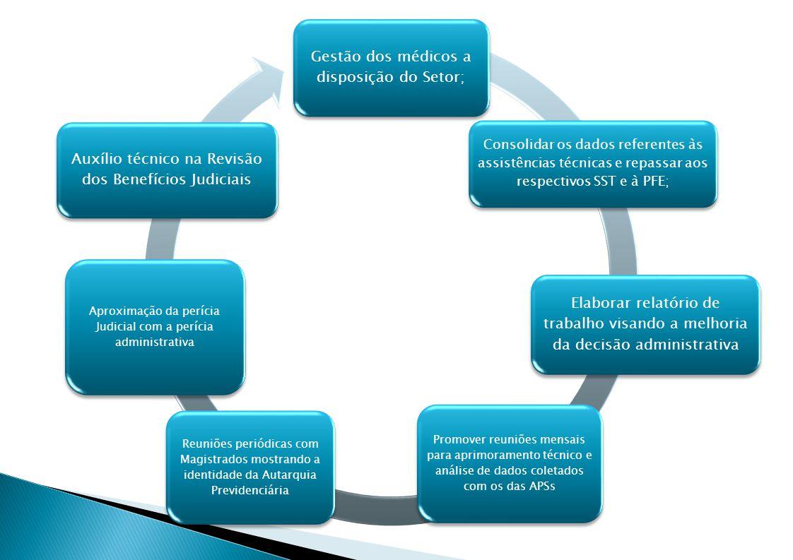 Gestão dos médicos a disposição do Setor; Consolidar os dados referentes às assistências técnicas e repassar aos respectivos SST e à PFE; Elaborar relatório de trabalho visando a melhoria da decisão administrativa Promover reuniões mensais para aprimoramento técnico e análise de dados coletados com os das APSs Reuniões periódicas com Magistrados mostrando a identidade da Autarquia Previdenciária Aproximação da perícia Judicial com a perícia administrativa Auxílio técnico na Revisão dos Benefícios Judiciais