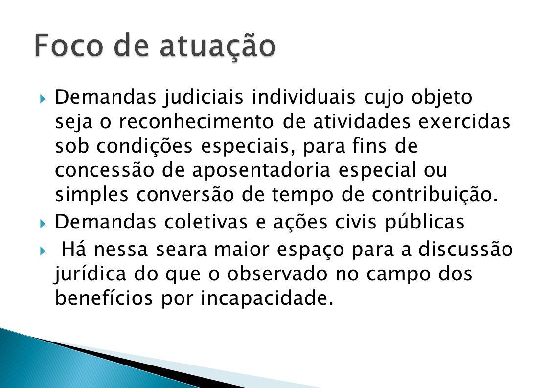 Demandas judiciais individuais cujo objeto seja o reconhecimento de atividades exercidas sob condições especiais, para fins de concessão de aposentadoria especial ou simples conversão de tempo de contribuição.