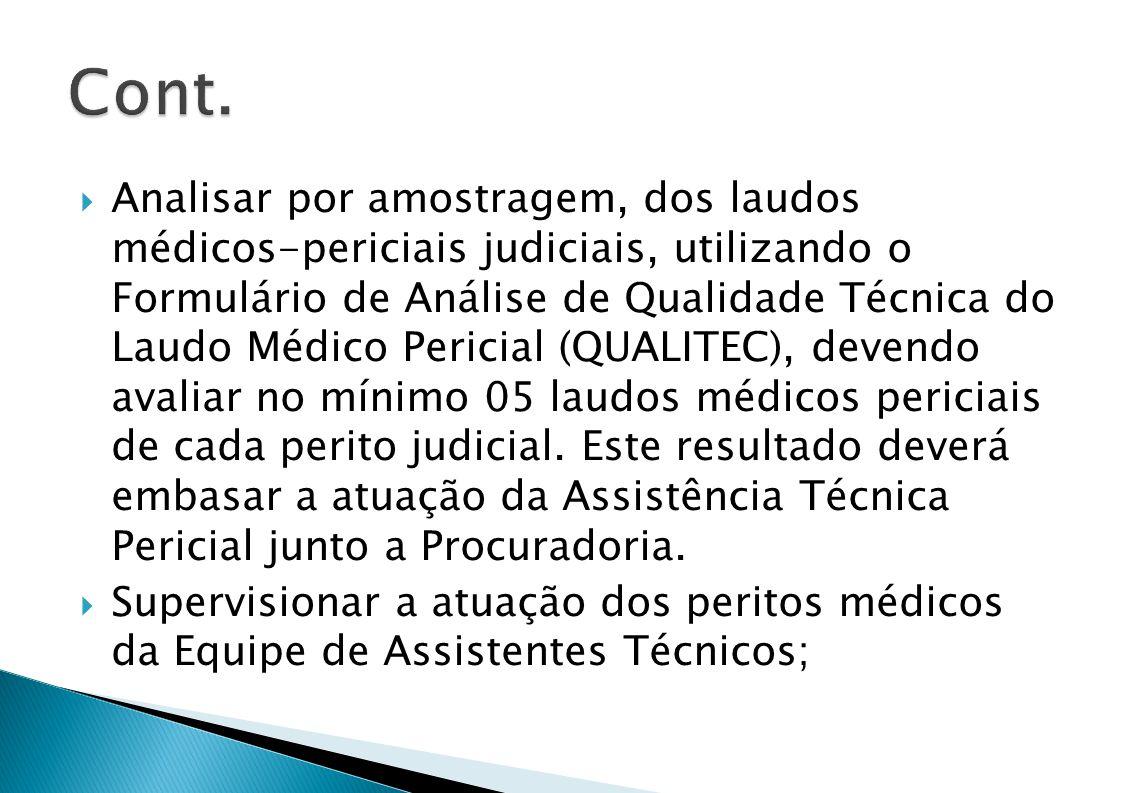 Analisar por amostragem, dos laudos médicos-periciais judiciais, utilizando o Formulário de Análise de Qualidade Técnica do Laudo Médico Pericial (QUALITEC), devendo avaliar no mínimo 05 laudos médicos periciais de cada perito judicial.